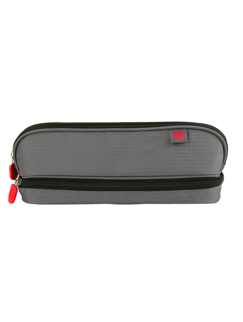 Pencil Case, Gray/Red